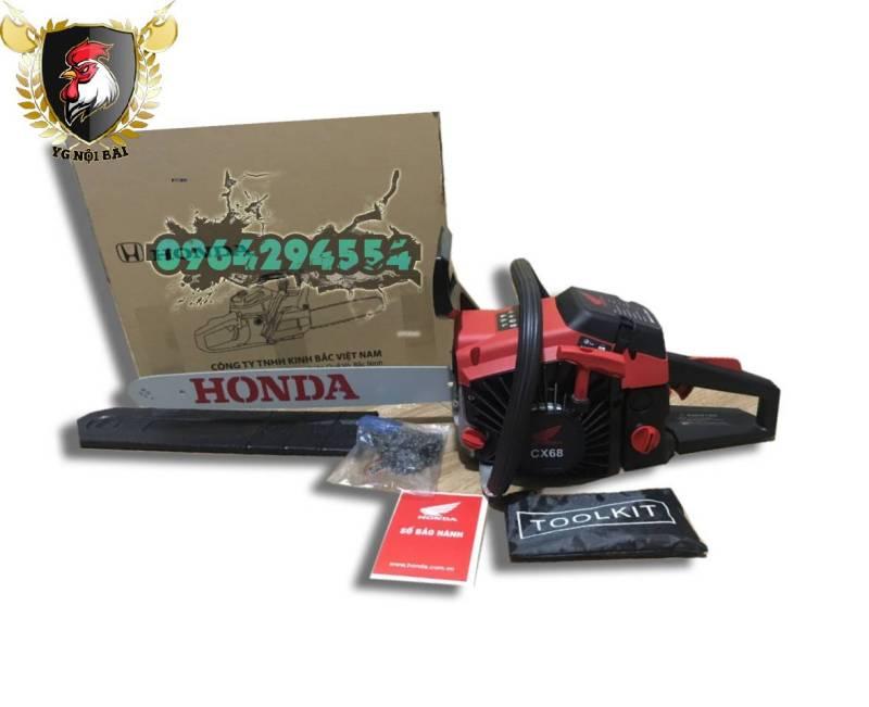 Máy cưa gỗ cầm tay - máy cắt cành, máy cưa xích chạy xăng HONDA CX68 tặng bình pha nhớt, máy cưa củi lam 5 tấc 68cc