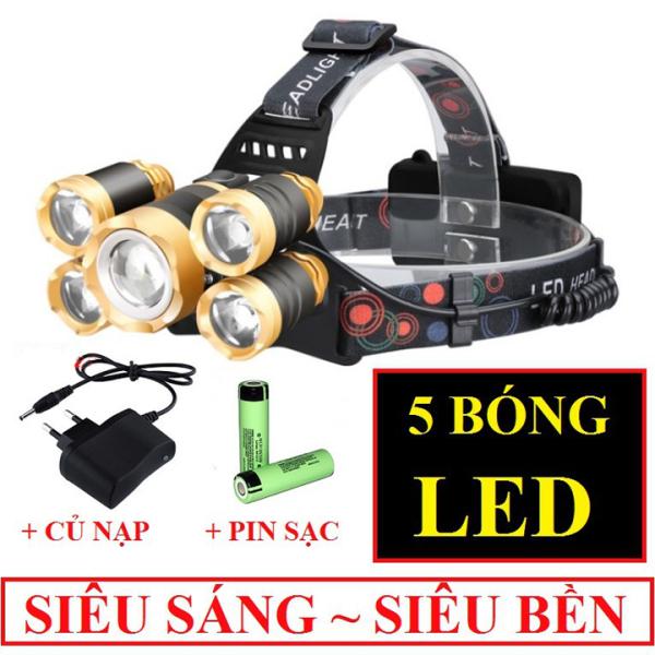 [MẪU HOT 2020 ] Đèn pin đội đầu 5 bón-  8 bóng đèn pin siêu sáng, đèn pin đội đầu, sạc điện, 5 bóng nhiều chế độ - thu ánh sáng gần xa, bao gồm 2 pin sạc và cục sạc