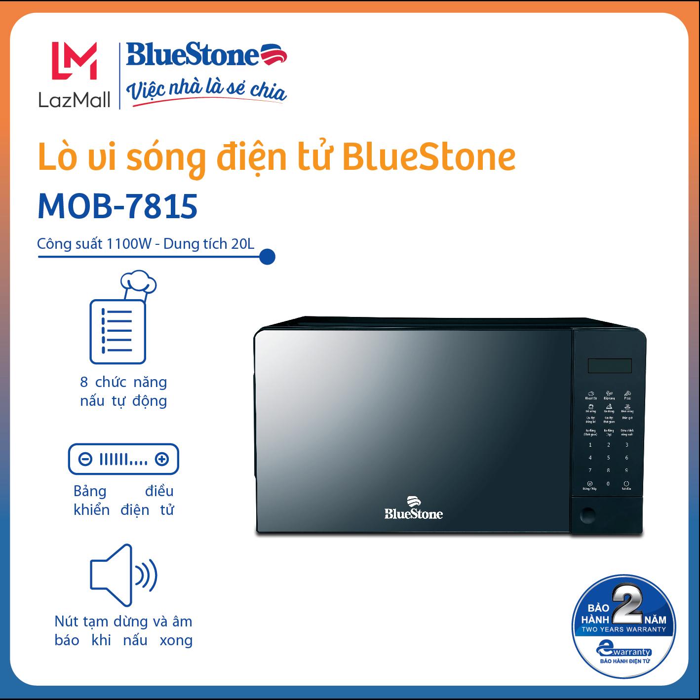 Lò vi sóng Bluestone MOB-7815 - Thiết kế sang trọng - Điều khiển điện tử - Dung tích 20L - Công suất 1100W - 8 chế độ nấu - Bảo hành 2 năm - Hàng chính hãng