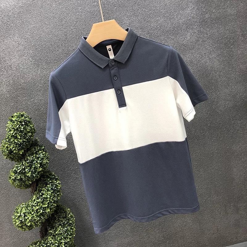 Áo thun Polo nam cổ bẻ Phối xanh than cao cấp, Chất liệu cotton cá sấu, phong cách thể thao , 2 màu trắng đen, full size từ 35-90kg
