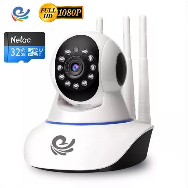 [TẶNG THẺ 32G]Camera Wifi 3 Râu CARECAM xoay 360 độ 2.0MPX Full HD1080P, chuyển động theo người, đàm