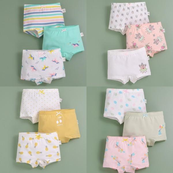 Giá bán Set 3 quần chip đùi bé gái ZAKUDO quần lót trẻ em cotton cao cấp mềm mại thoáng mát bảo vệ vùng kín QL07
