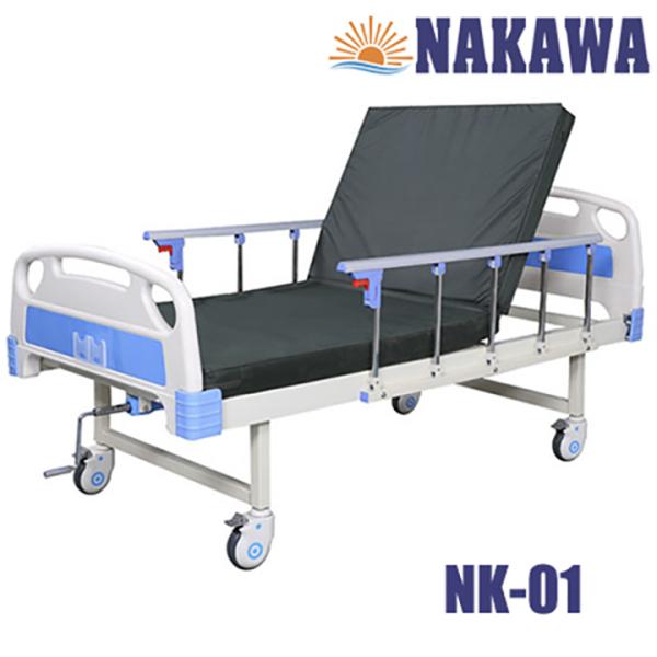 Giường bệnh nhân 1 tay quay NAKAWA NK-01,[Giá: 6.900.000], giường y tế 1 chức năng, giường bệnh viện 1 chức năng, nursing bed nhập khẩu