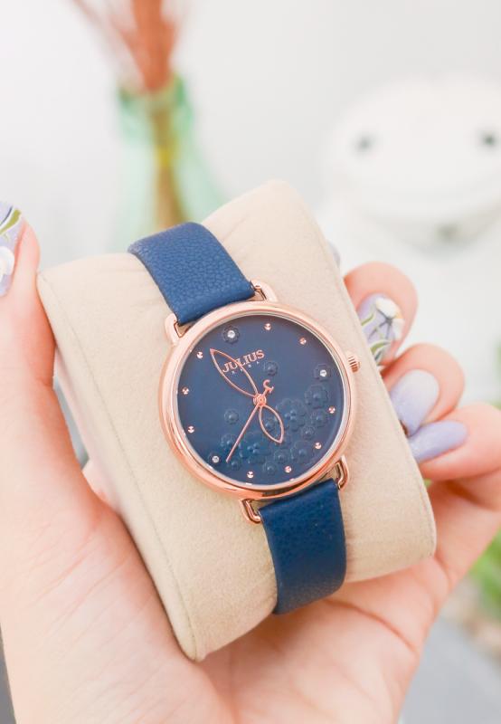 Đồng hồ nữ Julius Hàn Quốc JA-1239 dây da mặt in hoa 3D (Màu xanh)