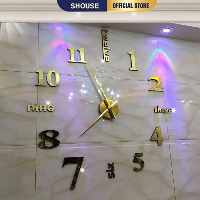 Đồng hồ treo tường loại dán tường 3D cỡ lớn chính hãng Shouse, kích thước 70cm-130cm