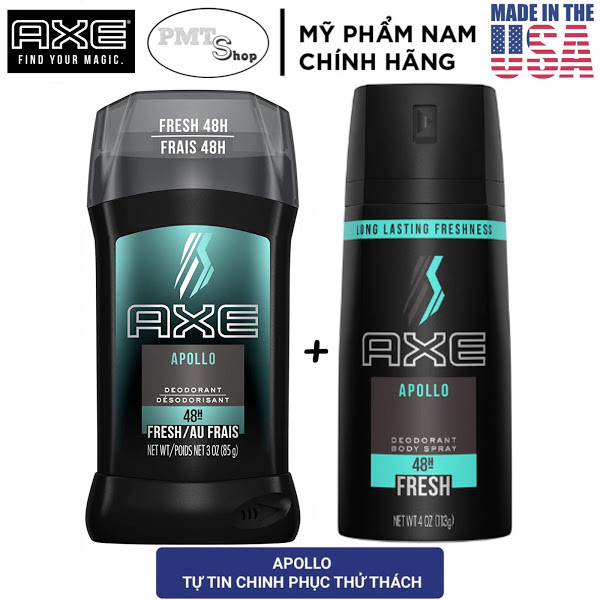 [USA] Combo AXE APOLLO gồm 1 Lăn Sáp khử mùi 85g + 1 Xịt nước hoa toàn thân nam 150ml - Mỹ