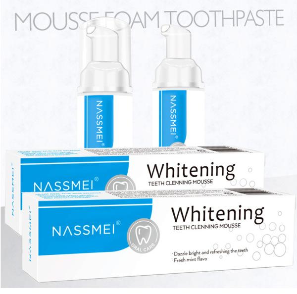 NASSMEI Bọt Tẩy Trắng Răng Làm Sạch Răng Khử Mùi Hôi Miệng Mousse Teeth Whitening Clean Teeth 60ml