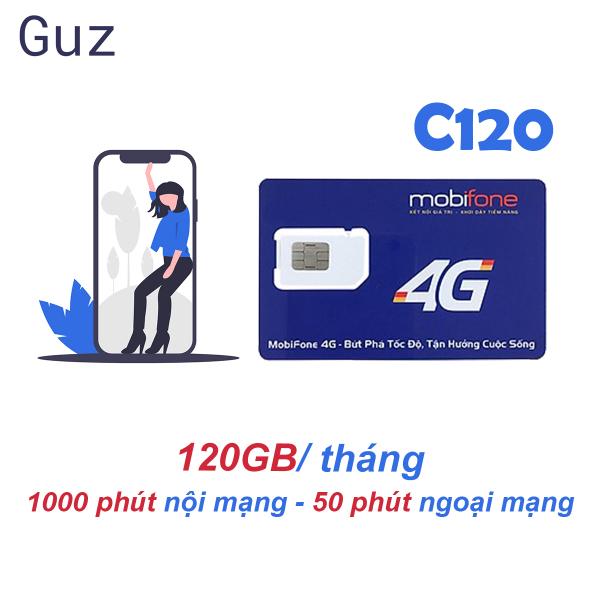 Sim 4G Mobifone C120 120GB/tháng (4 GB/ngày + 1000 phút nội mạng + 50 phút liên mạng)