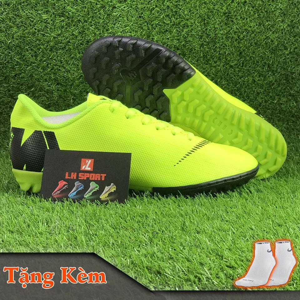Giày đá bóng giày đá banh sân cỏ nhân tạo MERCURI-X màu xanh chuối dạ quang, siêu bền, đã khâu mũi chắc chắn (Tặng kèm vớ) Nhật Bản