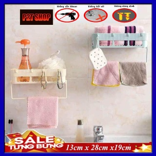 Kệ nhà tắm đa năng dán tường không cần khoan đục, Kệ nhà tắm có móc treo khăn, Khay nhà tắm đa năng kt 28x19x13cm thumbnail