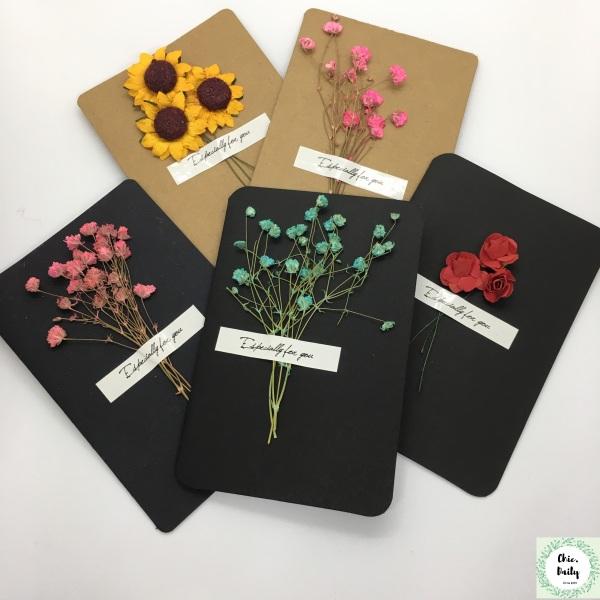 Thiệp hoa khô nhiều mẫu cực xinh - Thiệp hoa handmade độc lạ - Thiệp 8/3, thiệp sinh nhật phong cách vintage ý nghĩa