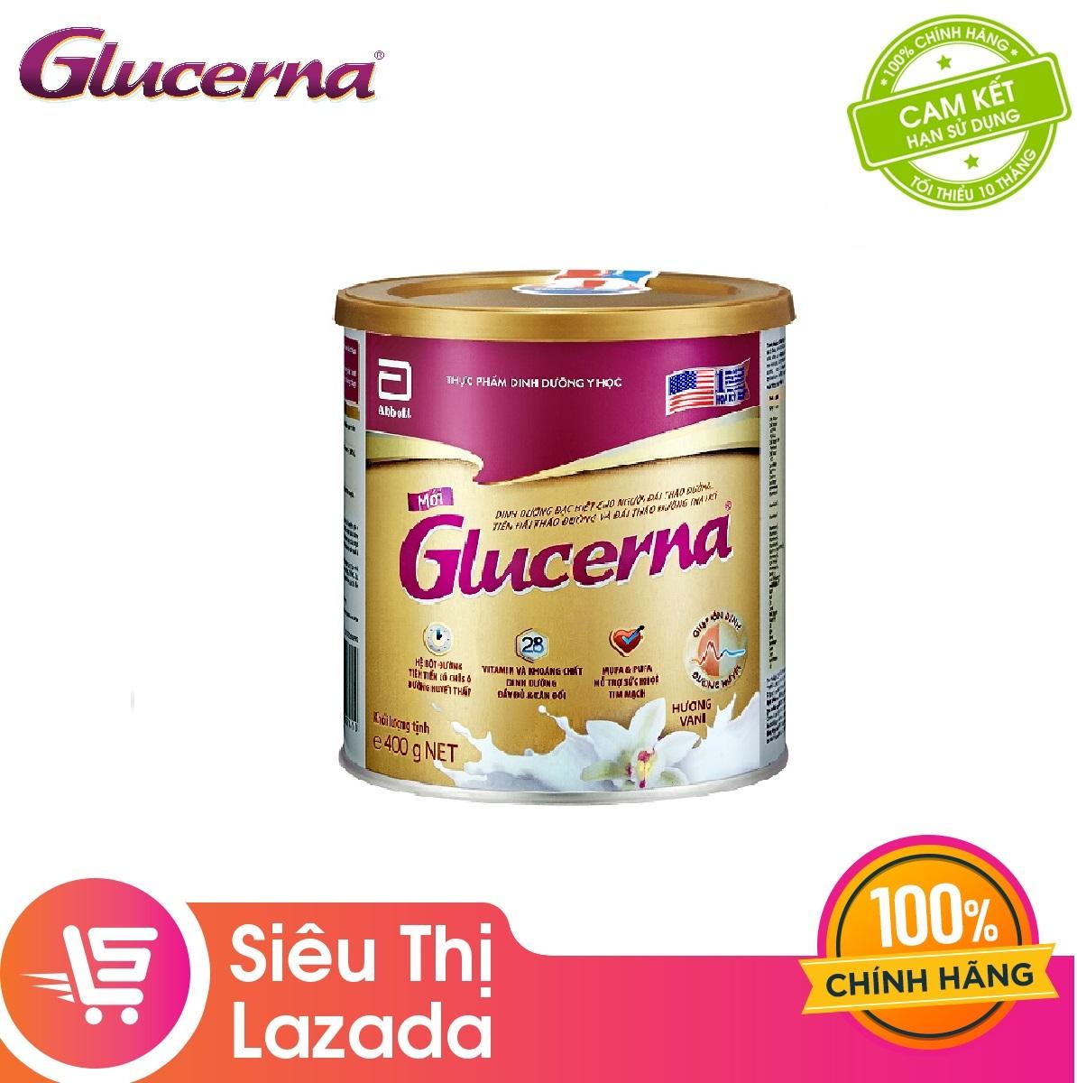 [GIẢM 30K ĐƠN 1TR] Lon sữa bột Glucerna Hương Vani 400g Công thức độc đáo và hệ dưỡng chất đặc chế Triple Care bổ sung dinh dưỡng cho bệnh nhân đái tháo đường giúp bình ổn đường huyết - Giới hạn 5 sản phẩm/khách hàng