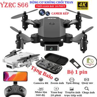 (NEW 2020- BỘ 2 PIN) - TẶNG TÚI ĐỰNG - Flycam mini 4K giá rẻ, Flycam mini YLR/C S66 Camera 4K hai camera kép góc rộng, động cơ không chổi than, thời gian bay 20 phút truyền ảnh trực tiếp về điện thoại - BẢO HÀNH 3 THÁNG
