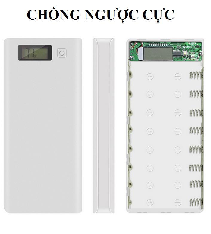 [CHỐNG NGƯỢC CỰC)Khung 8 pin sạc dự phòng 30.000mAh dùng pin laptop 18650 (Trắng, chưa pin), box sạc dự phòng, mạch sạc dự phòng, mạch sạc pin 18650, box sac du phong 8cell