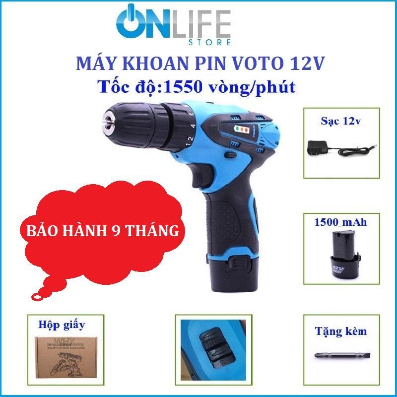 Máy khoan pin voto 12v, máy khoan pin đa dụng, máy khoan pin đa năng, máy khoan pin cầm tay - Máy khoan pin Voto 12V có 2 tốc độ,khoan bắt vít không dây có đèn Led báo pin,hộp giấy(Nhiều màu)