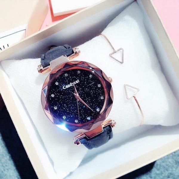 Đồng hồ thời trang nữ Candycat dây da nhung MS785