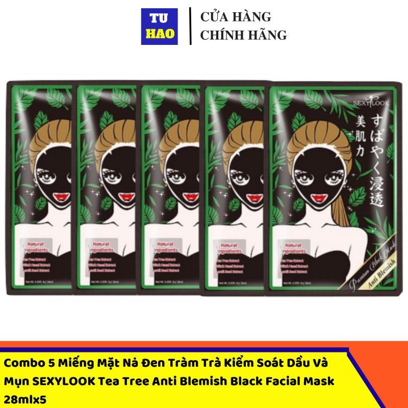 Combo 5 Miếng Mặt Nạ Đen Tràm Trà Sexylook Kiểm Soát Dầu Và Mụn Tea Tree Anti Blemish Black Facial Mask