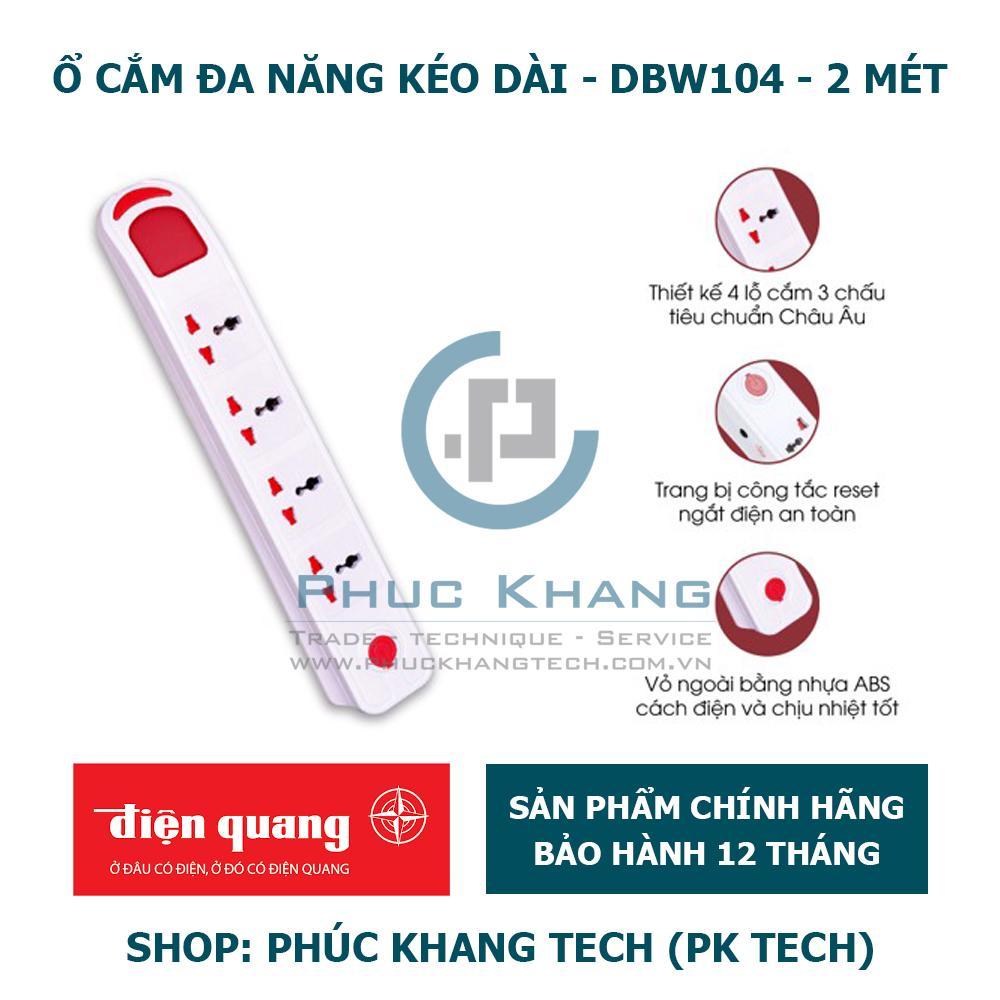 Ổ Cắm Điện Quang ĐQ ESK DBW104 - 2m, Kiểu Tàu Siêu Tốc, 4 Lỗ 3 Chấu (Phúc Khang Tech)
