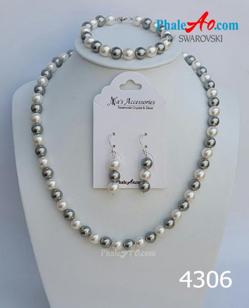Bộ trang sức ngọc trai trắng, xám của pha lê Swarovski crystal pearl 5810 – khóa bạc 925