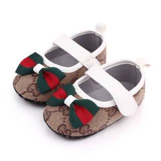 Tootplay 1 Đôi Giày Bé Gái, Giày Da Thắt Nơ Nhiều Màu Cho Trẻ Tập Đi Cho Bé 3-12 Tháng Tuổi