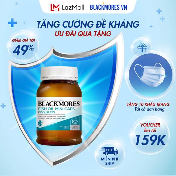Blackmores Odourless Fish Oil 1000 Mini Capsules 400v - Dầu cá KHỬ MÙI tự nhiên Blackmore Úc, bổ sung omega 3
