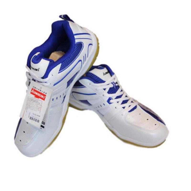 Giày cầu lông Kawasaki (trắng xanh) - ảnh chụp ĐẾ KẾP - TIÊU CHUẨN THI ĐẤU