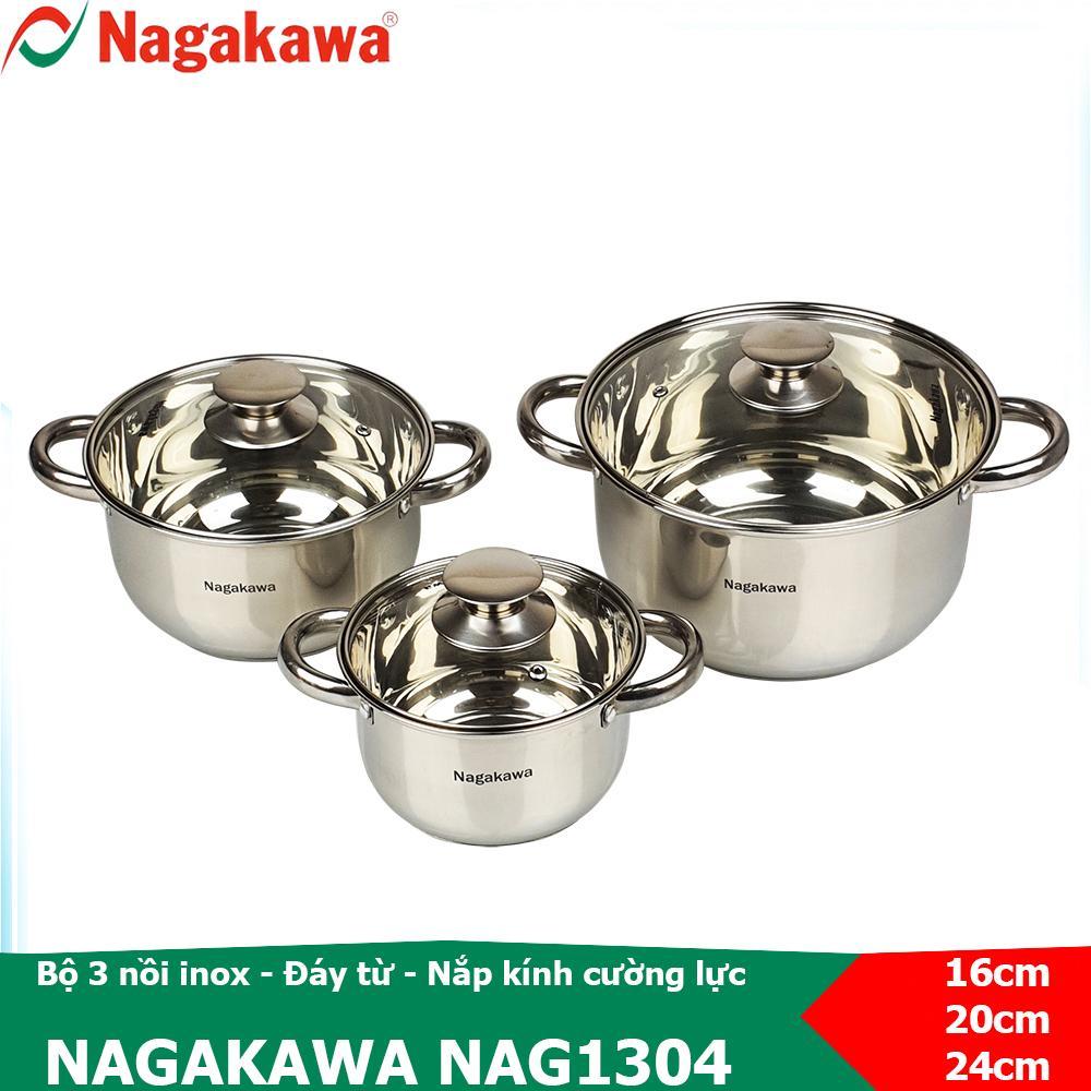 Bộ nồi inox 3 cái, thiết kế 4 đáy Nagakawa NAG1304 sử dụng được trên bếp từ