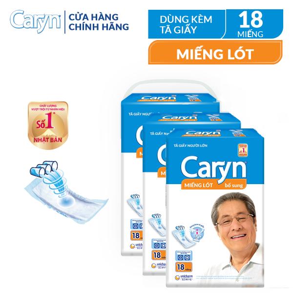 [VOUCHER 25K]Combo 3 gói miếng lót bổ sung Caryn 18 miếng cho người lớn (54 miếng), với công nghệ nano bạc kháng khuẩn ngăn ngừa vi khuẩn và kiểm soát mùi hiệu quả nhập khẩu