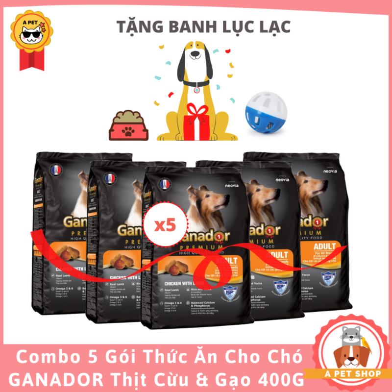 (Tặng banh lục lạc)COMBO 5 GÓI Thức Ăn Cho Chó Lớn Ganador Vị Thịt Cừu & Gạo 400 Gram - A Pet Shop