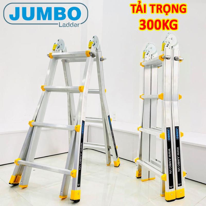 Thang nhôm gấp chữ A đa năng Jumbo A404, bảo hành 2 năm, chữ A-2M; chữ I-4M; tải trọng 300kg