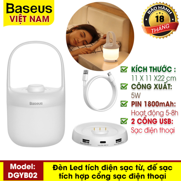 Đèn ngủ, đèn di động cầm tay Baseus Moon-white Series Knob Stepless Dimming Portable Lamp (DGYB-02) dung lượng 1800mAh - 3.5W có nút vặn điều chỉnh độ sáng từ 3000K-6000K