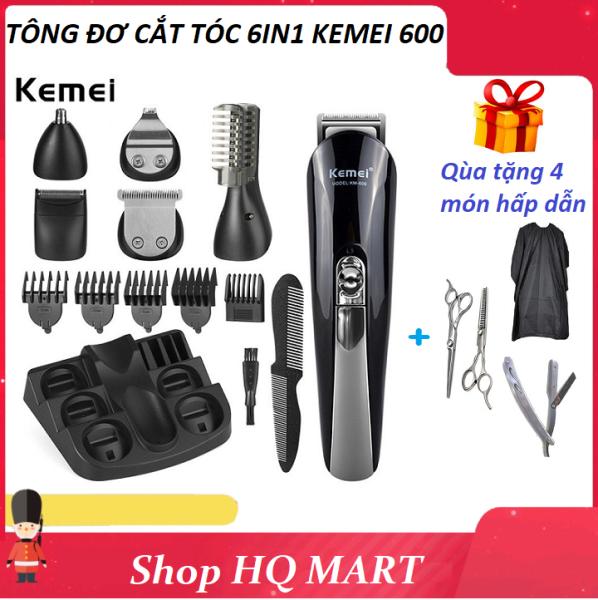 Tông đơ cắt tóc gia đình đa năng 6in1 Kemei KM-600 không dây, tăng đơ hớt tóc trẻ em người lớn có thể cắt tóc, cạo râu, tỉa lông mũi, Tặng kèm 2 kéo cắt tỉa, dao cạo, áo choàng