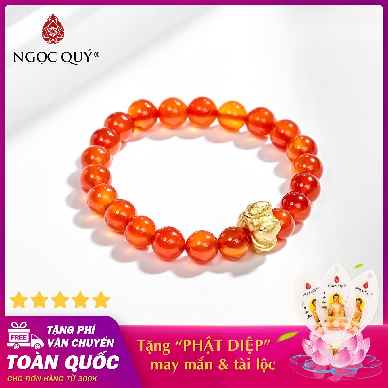 Vòng tay phong thủy đá mã não đỏ charm tuổi ngọ bạc mạ vàng 24k 8mm mệnh hỏa , thổ - Ngọc Quý Gemstones