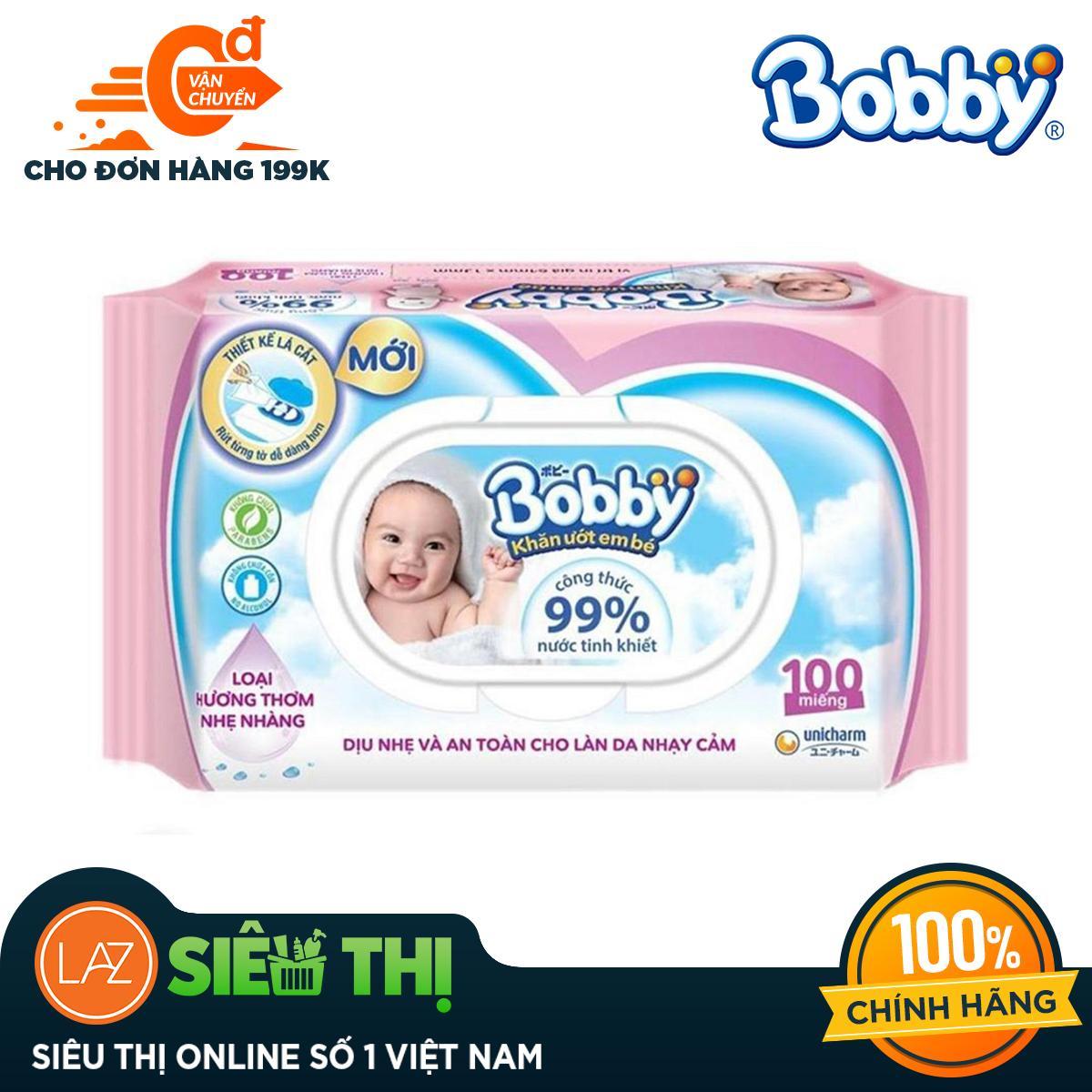 [Siêu thị Lazada] - Khăn ướt trẻ em Bobby Care hương dịu nhẹ gói 100 miếng