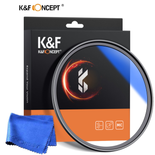K&F Concept 37 40.5 43 46 49 52 55 58 62 67 72 77 82mm UV Filter Lens MC Ultra Slim Optics with Multi Coated Protection with Cleaning Cloth thumbnail