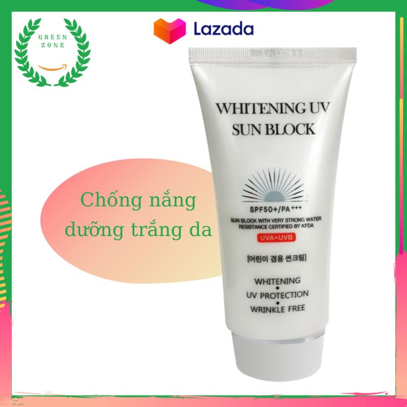Kem chống nắng Hàn Quốc JigotT Whitening UV Sun Block SPF50+ 70ml, kem chống nắng dưỡng trắng,  Green Zone nhập khẩu