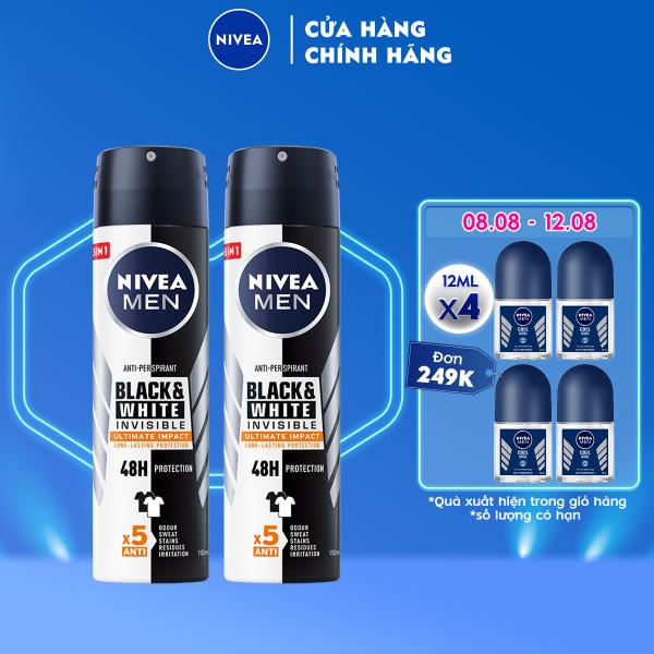 Bộ đôi Xịt Ngăn Mùi NIVEA MEN Black & White Ngăn Vệt Ố Vàng Vượt Trội 5in1 (150ml) - 85388 nhập khẩu