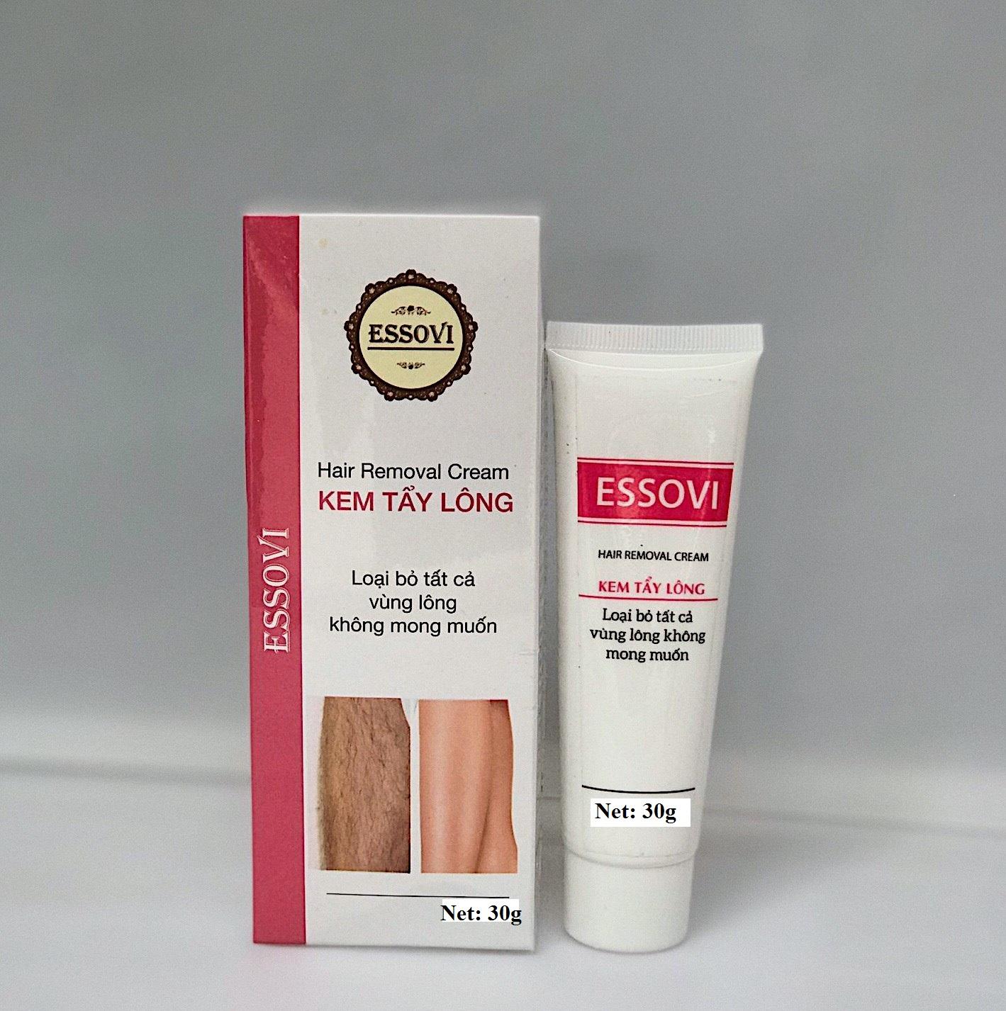 Kem tẩy lông ESSOVI 30g - Thành phần từ thiên nhiên dùng cho mọi loại da - Có khả năng nuôi dưỡng da se khít các lỗ chân lông - Tặng kèm miếng nhám tẩy da chết cao cấp