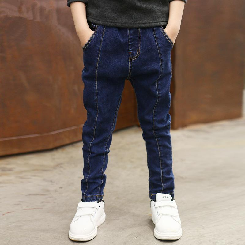 Quần jean dài dành cho bé trai chất liệu co dãn thoải mái thiết kế đơn giản dễ phối- IENENS