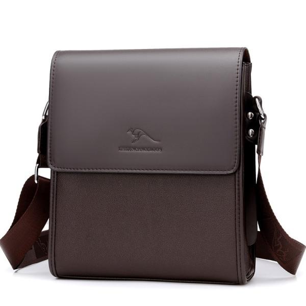 Túi đeo chéo nam da bò cao cấp ZHIZUNCANGUROOS kiểu túi đứng - túi ngang (Nâu-Đen)