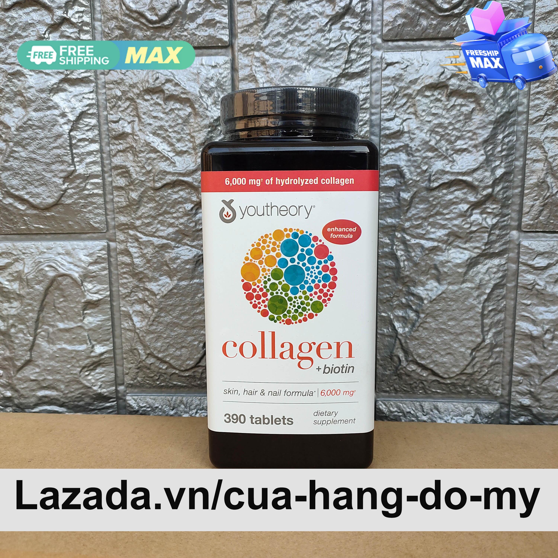 Viên Uống Collagen Youtheory collagen + biotin Advanced Formula 390 Viên -   Youtheory collagen plus  biotin Sản phẩm được rất nhiều người tin tưởng sử dụng