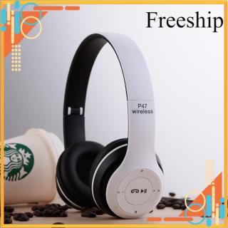 [Freeship Max] Tai nghe chụp tai cao cấp có khe thẻ nhớ Bluetooth P47 (Trắng) 1000002736 thumbnail
