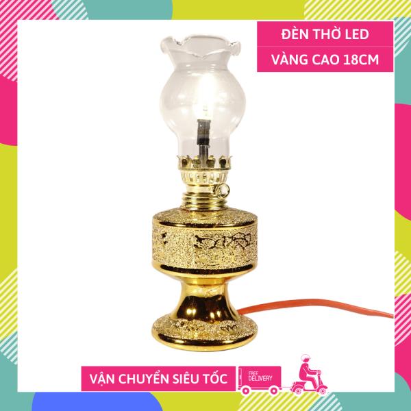 Bảng giá Đèn thờ điện led cúng truyền thống trụ tròn kim sa vàng cao 18cm sáng rực rỡ - Có dây + bóng sẵn