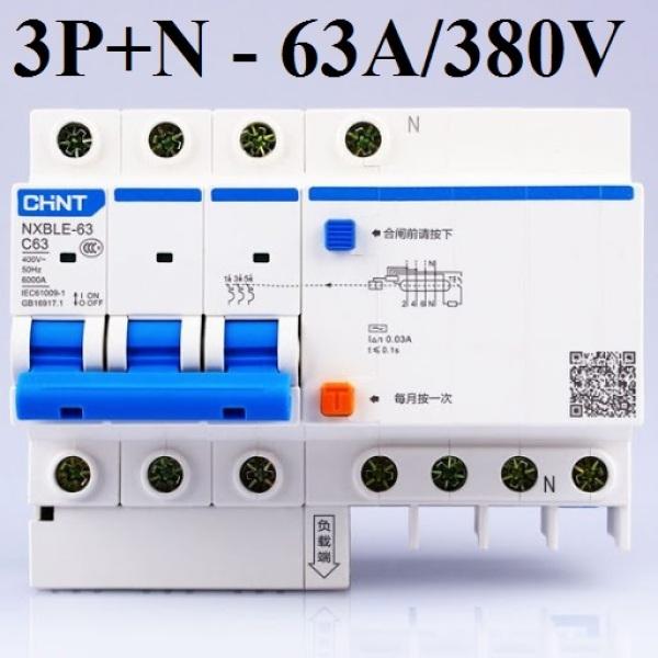 Bảng giá Cầu dao chống giật chống dòng dò 3P+N CHINT NXBE-63A-380V Cb chống giật
