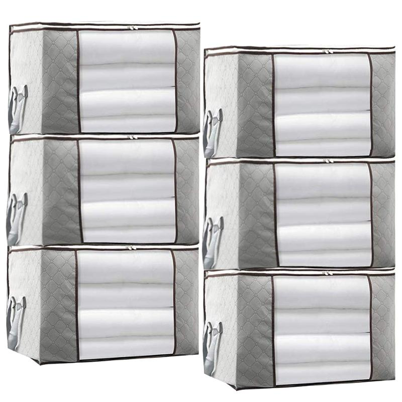 Large Capacity Storage Bag,Gray Foldable Closet Organizer Clothing Storage Bags with Clear Window, Reinforced Handle and Sturdy Zipper