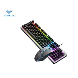 Aula Factory Store T200 Bàn Phím Chơi Game Và Chuột Chơi Game Combo Đèn Nền Nhiều Màu Với Núm Đa Chức Năng thumbnail