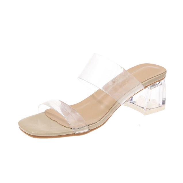 2020 Phụ Nữ Dép Giày Người Nổi Tiếng Mang Phong Cách Đơn Giản Nhựa PVC Trong Suốt Thiết Kế Quai Khóa Giày Cao Gót Nữ Trong Suốt Gót Vàng Bán giỏi nhấtjkjk giá rẻ