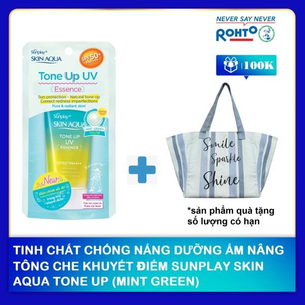 Tinh chất chống nắng dưỡng ẩm nâng tông che khuyết điểm Sunplay Skin Aqua Tone Up UV Essence (Mint Green) 50g