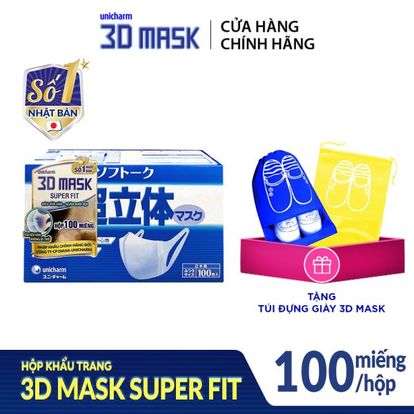[Tặng túi đựng giày 3D Mask] Hộp Khẩu trang ngăn khói bụi Unicharm 3D Mask Super Fit size M (Ngăn được bụi mịn PM10) 100 miếng