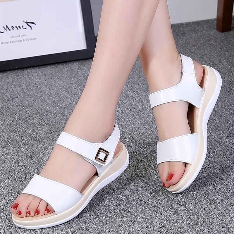 ad932d92e45 2019 Summer New Style Versatile Flat Sandals Women s Pregnant Women Leisure Flat  Heel Korean Style Schick